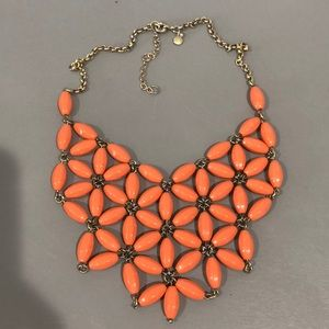 J.crew orangey coral bib beaded necklace
